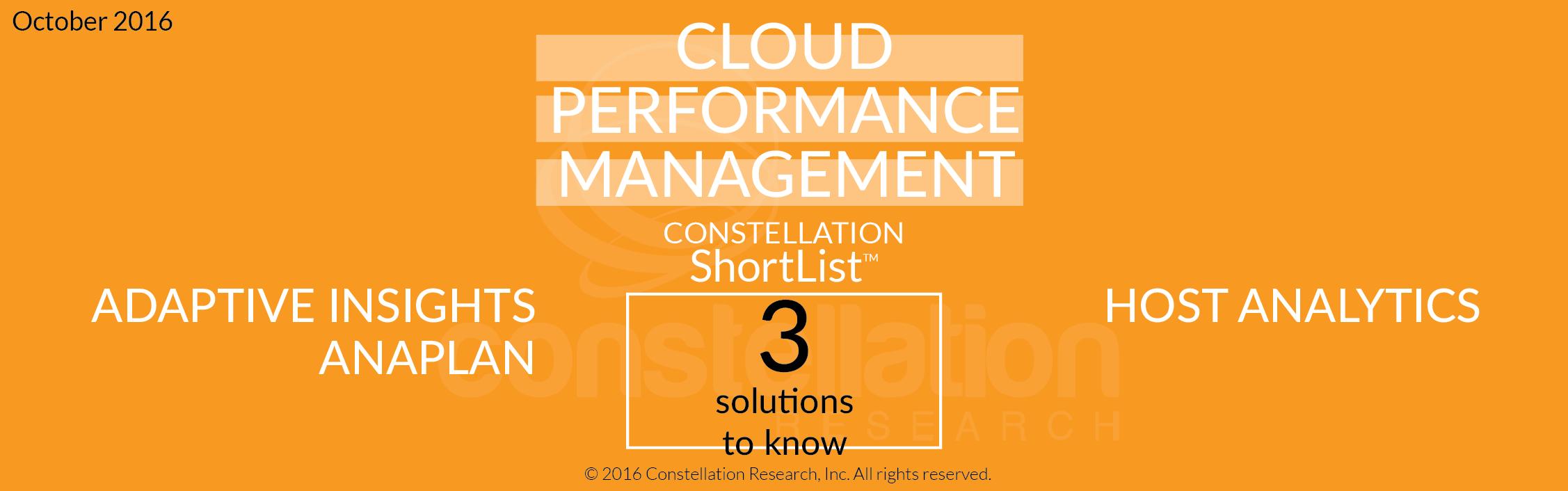Cloud Performance Management Constellation ShortList