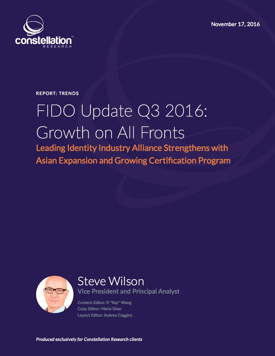 FIDO Alliance Update Q3 2016
