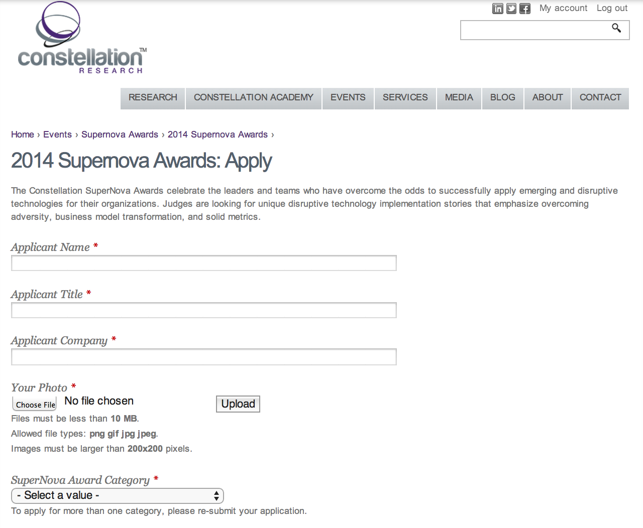 SuperNova Award Application Part I