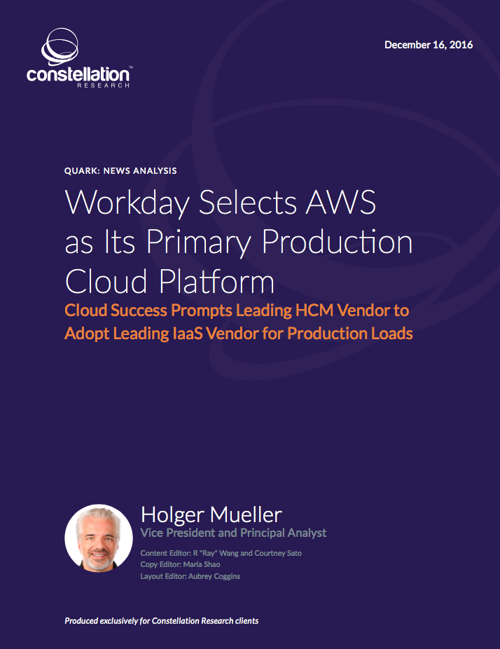 Workday Selects AWS Cloud