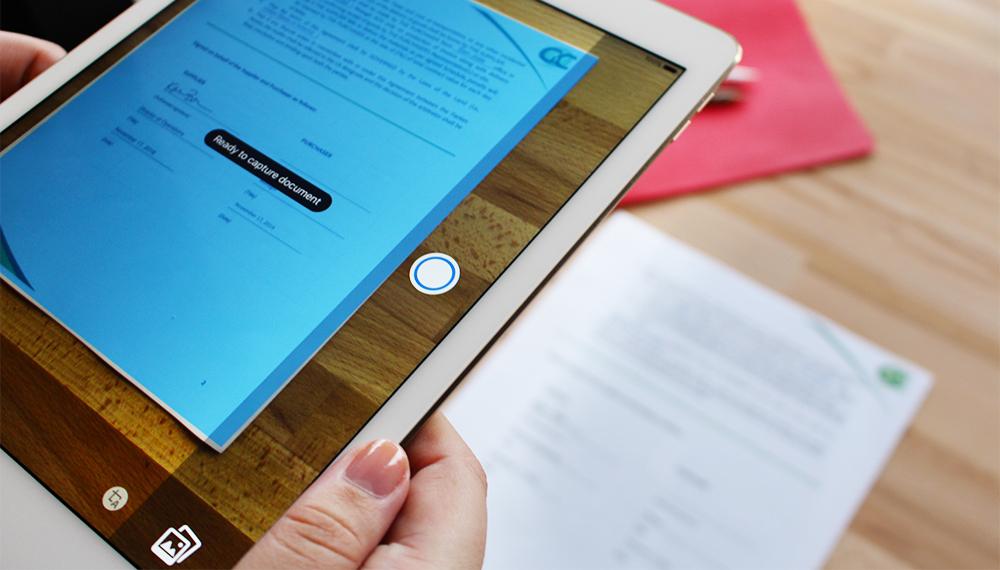 Adobe Acrobat mobile scanning a document via tablet
