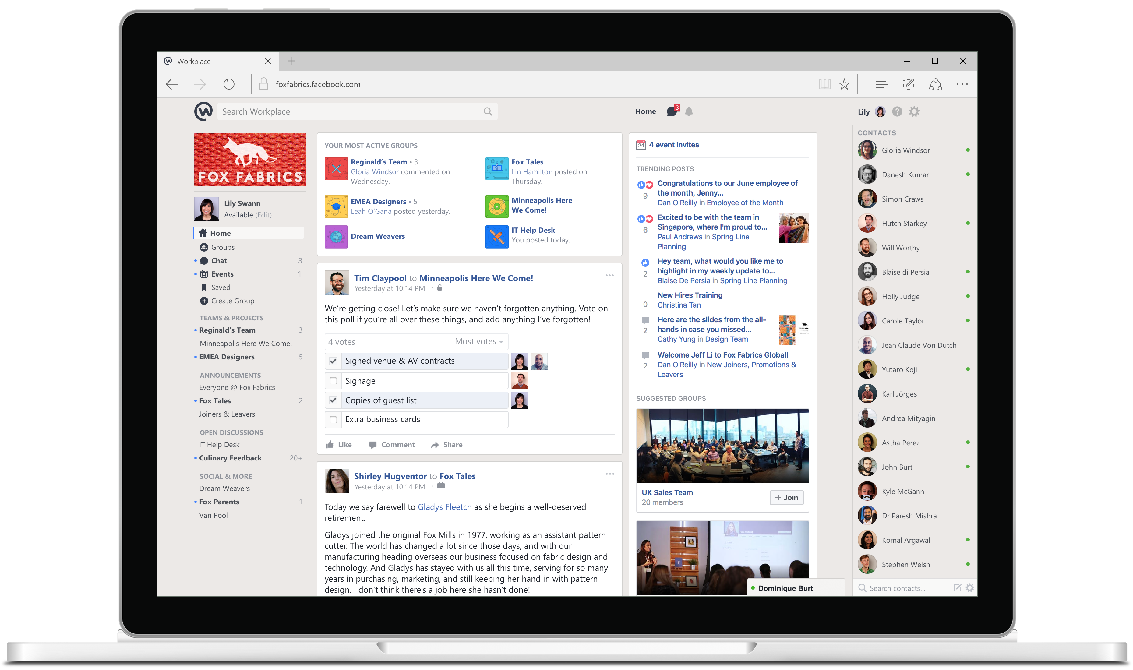 in the next version introducing workplace by facebook some of the key workplace features include events polls and live streaming which allows organizations to broadcast content to employees in real time
