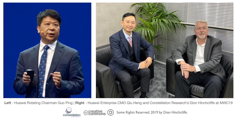 Huawei Chairman Guo Ping and CMO Qiu Heng with Constellation Research's Dion Hinchcliffe at Mobile World Congress 2019