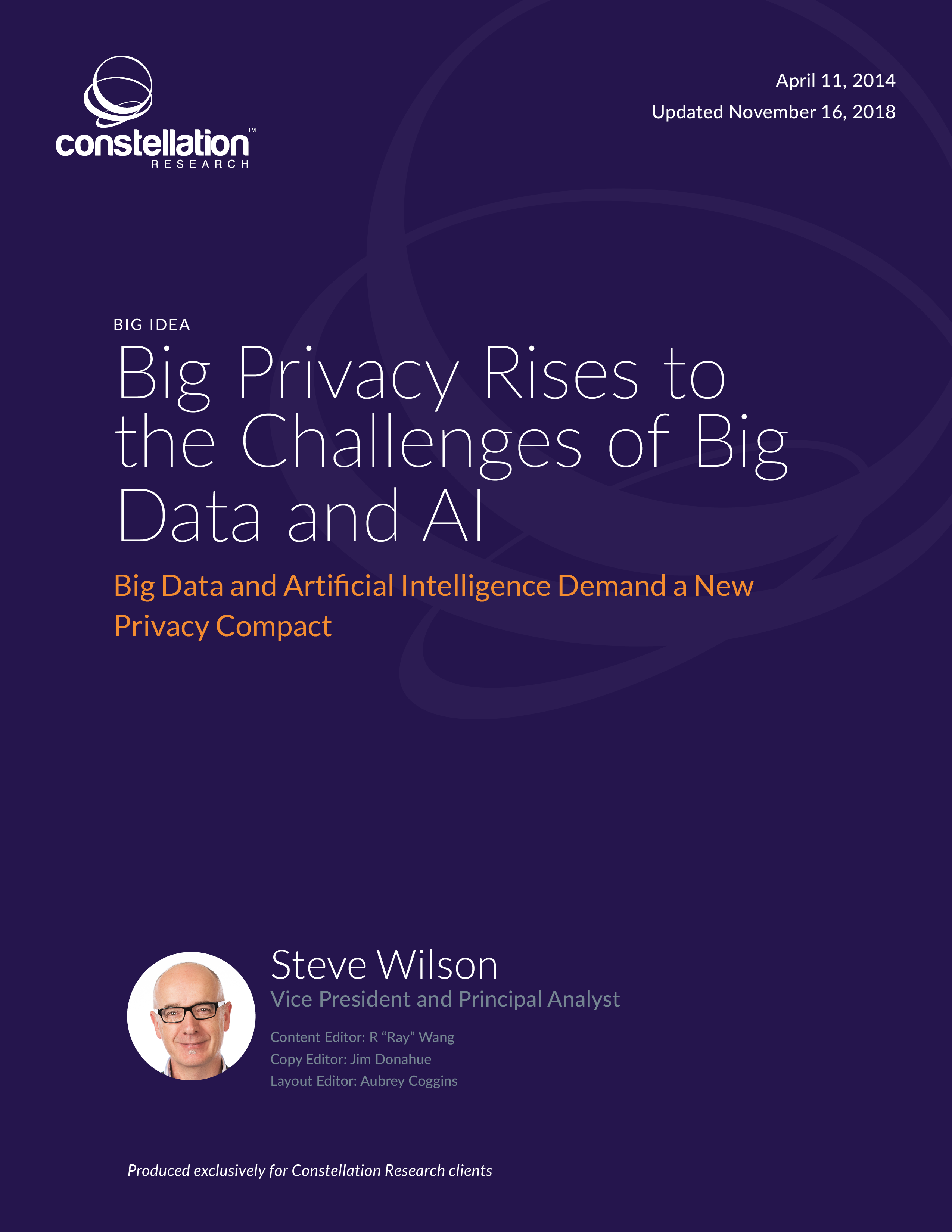 Big Privacy Rises to the Challenges of Big Data and AI